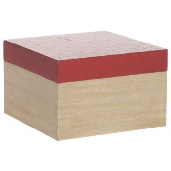 Cosy @ Home Doos Rood Natuur 15x15xh10cm Vierkant