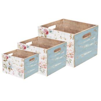 Cosy @ Home Opbergbak Set3 Flowers Roze 30x26xh21cm