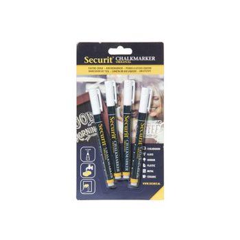 Securit Krijtstift Set4 Liquid Wit 1-2mm