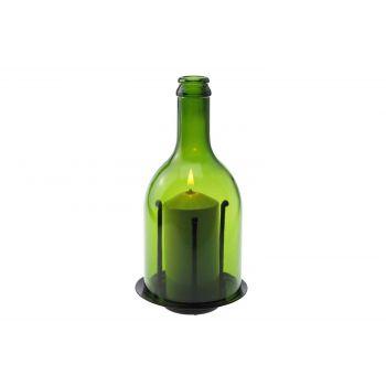 Candola Ino Kaarsenhouder Glas Groen H20.5cm