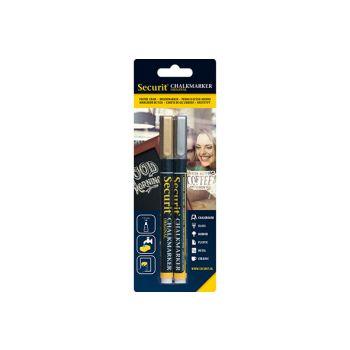 Securit Krijtstift Liquid Set2 Goud-zilver