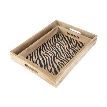Cosy @ Home Dienblad Set2 Zebra Black Natuur 40x30xh