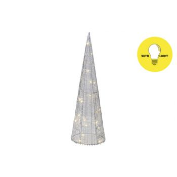 Cosy @ Home Piramide Silk 20led Ww Zilver D13xh40cm