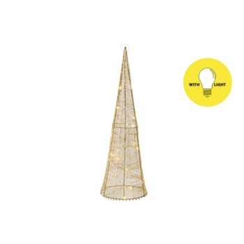 Cosy @ Home Piramide Silk 20led Ww Goud D13xh40cm Me