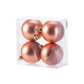 Cosy @ Home Kerstbal Set4 Mat Glitter Roze D8cm Kuns