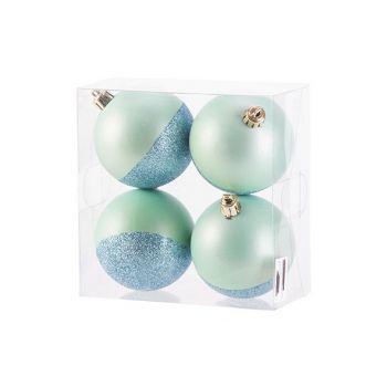 Cosy @ Home Kerstbal Set4 Mat Glitter Mint D8cm Kuns