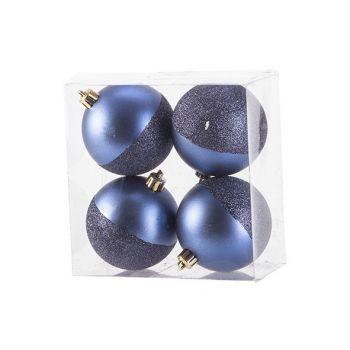 Cosy @ Home Kerstbal Set4 Mat Glitter Nachtblauw D8c