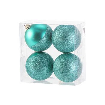 Cosy @ Home Kerstbal Set4 Mat Glitter Bright Groen D