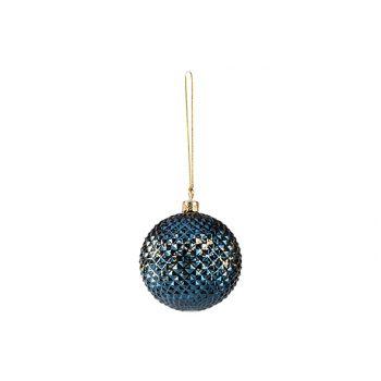 Cosy @ Home Kerstbal Diamond Nachtblauw D8cm Kunstst