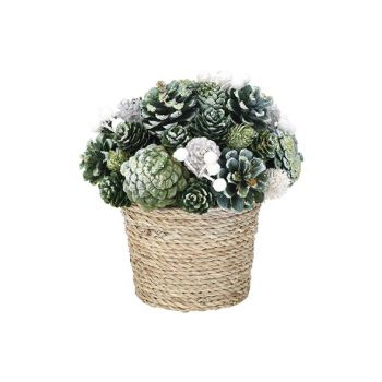 Cosy @ Home Kerststuk Flower Pot  Glitter Pin Cone G