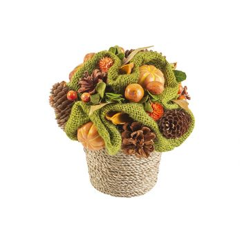 Cosy @ Home Kerststuk Pot With Pumpkin Oranje 19x19x
