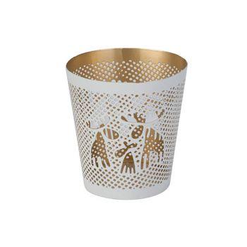 Cosy @ Home Theelichthouder Gold Elk Wit 8,5x8,5xh9c