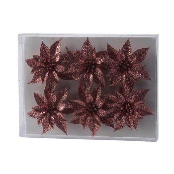 Cosy @ Home Kerstroos Set6 Glitter Roze D8cm Kunstst
