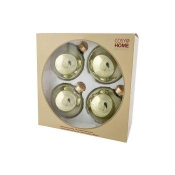 Cosy @ Home Kerstbal Set4 Shiny Olijfgroen D10cm Gla