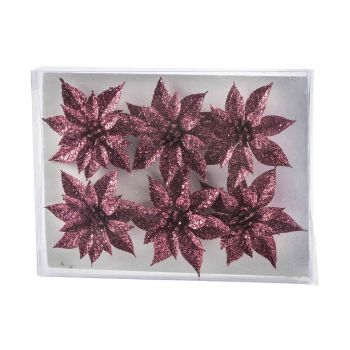 Cosy @ Home Kerstroos Set6 Glitter Framboos D8 Cm