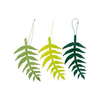 Cosy @ Home Blad Hanger 3 Types Groen 10xh20cm Hout
