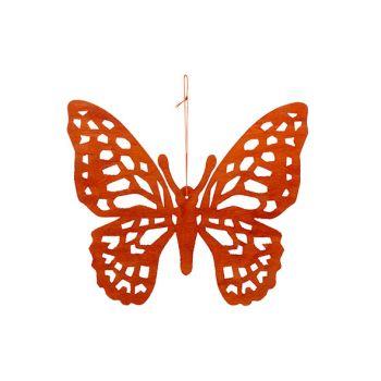 Cosy @ Home Vlinder Hanger Oranje 25xh22cm Hout