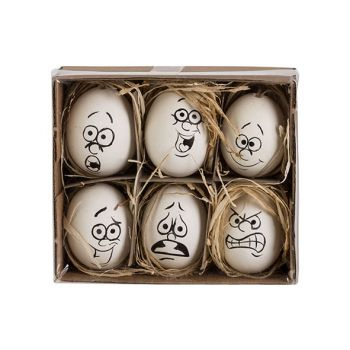 Cosy @ Home Paasei Set6 Funny Face Zwart-wit D6cm