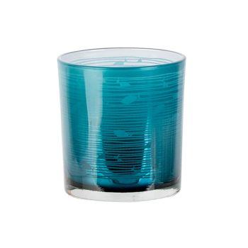 Cosy @ Home Theelichthouder Fish Blauw D7xh8cm Glas