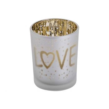 Cosy @ Home Theelichthouder Love Gold Wit D5,5xh7cm