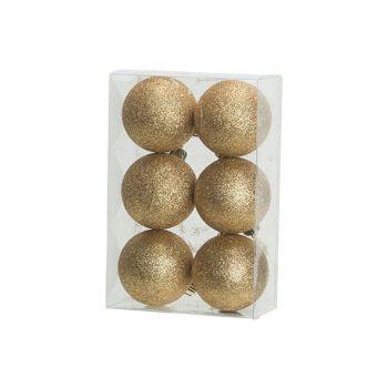 Cosy @ Home Kerstbal Set6 Glitter Goud D6cm Kunststo