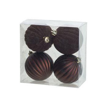 Cosy @ Home Kerstbal Set4 Mat Velvet Chocolat D8cm K
