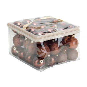 Cosy @ Home Kerstbal Set48 Mix Chocolat D6cm Kunstst