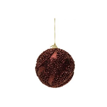 Cosy @ Home Kerstbal Glitter Balls Aubergine D10cm K