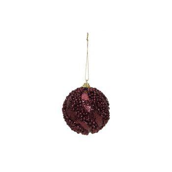 Cosy @ Home Kerstbal Glitter Balls Aubergine D8cm Ku