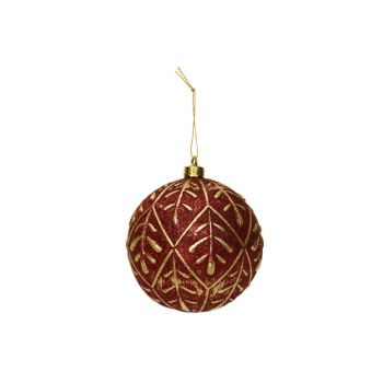 Cosy @ Home Kerstbal Gold Leaves Donkerrood D10cm Ku
