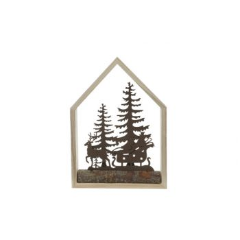Cosy @ Home Kersthuis Natuur 15x4xh21cm Hout