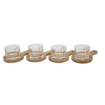 Cosy & Trendy Aperoset 8 Delig 4 Glas Met 4 Plankjes