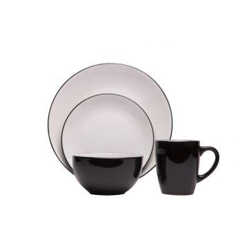 Cosy & Trendy Ancona Black-white Serviesset 16delig