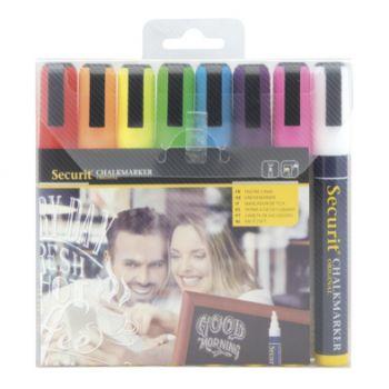 Securit Krijtstift Set8 Liquid Multi-kleur 2-6mm