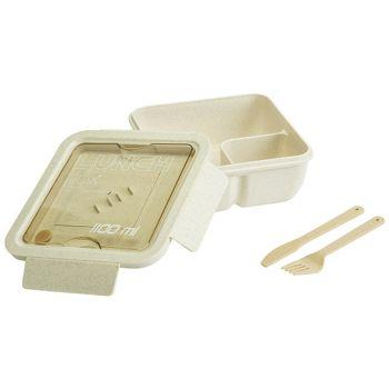 Cosy & Trendy Eco-fibre Lunchbox Wit-bruin Bestek 1,1l