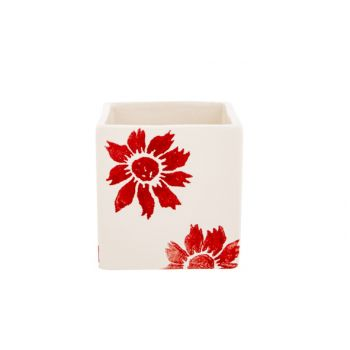 Cosy @ Home Bloempot Flowers Rood 8x8xh8cm Vierkant