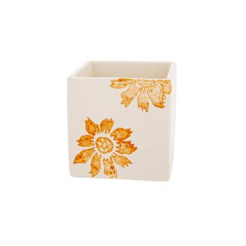 Cosy @ Home Bloempot Flowers Oranje 8x8xh8cm Vierkan