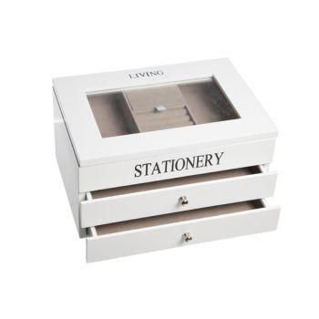 Cosy & Trendy Juwelenkoffer 3niv. Wit 26x18xh14cm Hout