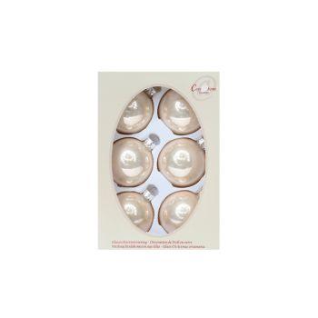 Cosy @ Home Kerstbal Set6 Pearl Ivoor 7cm Glas