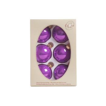 Cosy @ Home Kerstbal Set6 Pearl Mauve 7cm Glas