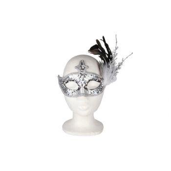 Cosy @ Home Oogmasker Takkenpluim Zilverglitter 19cm
