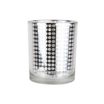 Cosy @ Home Theelichth.glass Disco Zilver 6x7.5cm