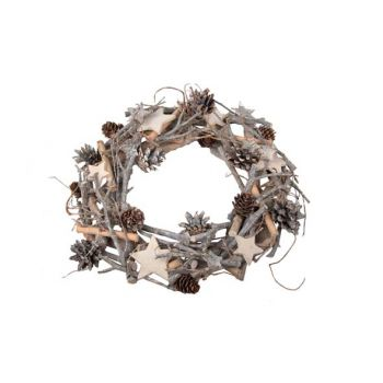 Cosy @ Home Kerstkrans Natuur Hout Ster Dia38cm