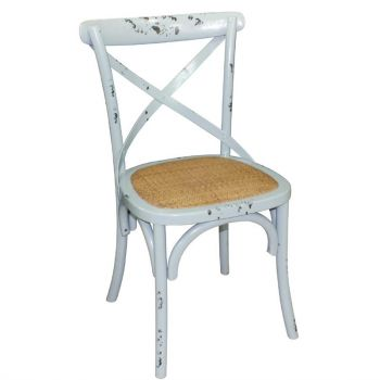 Bolero houten stoel met gekruiste rugleuning antiek blue wash