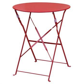 Bolero ronde stalen opklapbare tafel rood 59.5cm