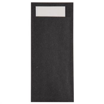 Europochette kraft zwart bestekzakje met wit servet
