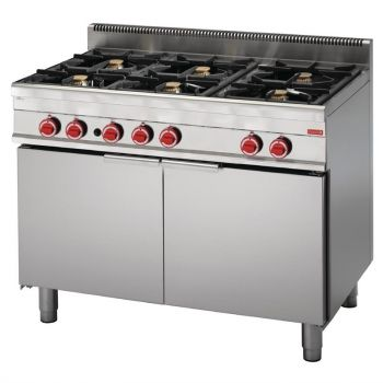 Gastro M 650 gasfornuis met 6 branders en extra grote oven 65/110 CFGG