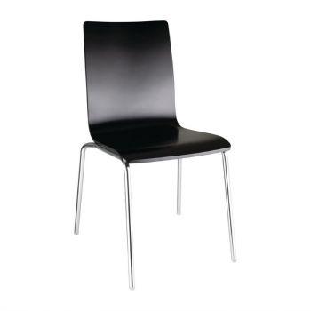 Bolero stoel met vierkante rug zwart - 4 stuks