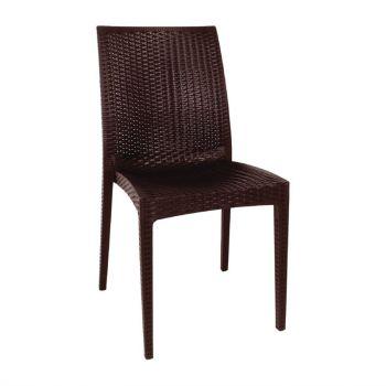 Bolero kunststof rotan stoel zonder armleuning bruin - 4 stuks