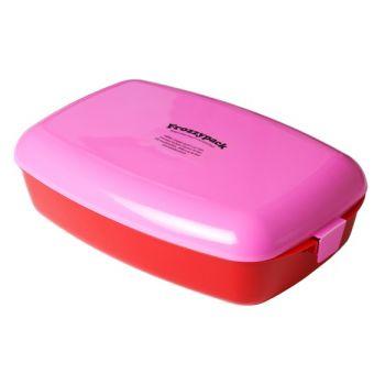 Frozzypack lunchbox met koelelement roze 24x15x8cm 1,2L
